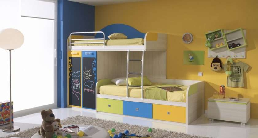 Off Set Funky Bunk Kids Bed Chalk Board Doors