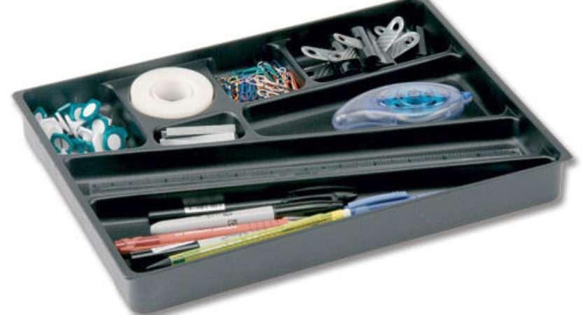 Office Desk Drawer Organiser Tidy Pen Tray Black
