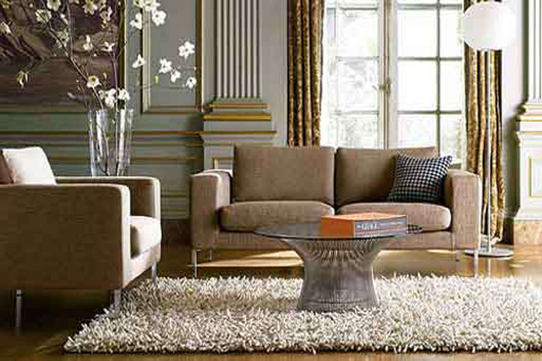 Ofgray Sofa Cushions Wall Paitn Smooth Rug Wooden Flooring Living Room