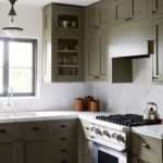 Olive Green Kitchen Cabinets Transitional