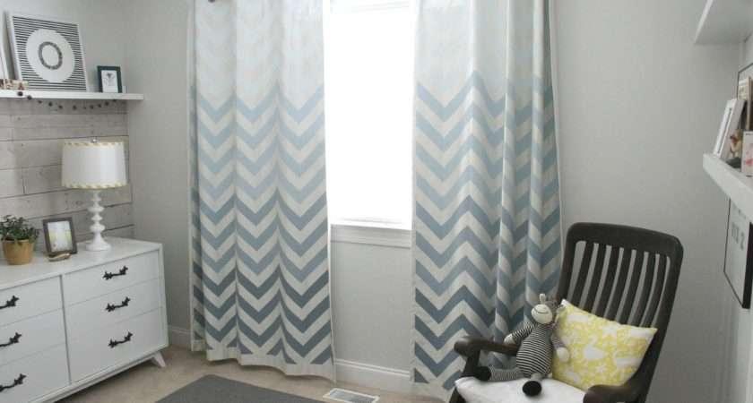 Ombre Chevron Curtains Boys Nursery