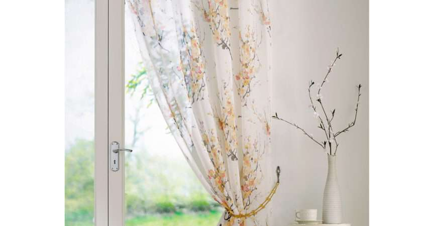 One Flowers Printed Voile Curtain Panel Ready Made