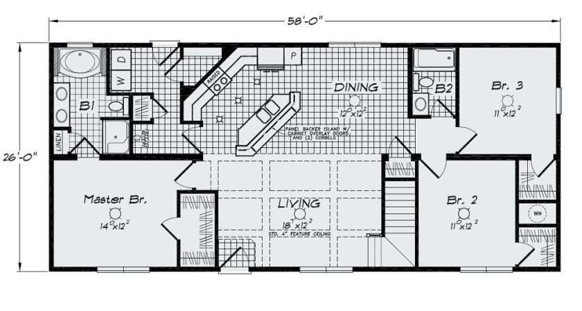 Open Floor Plan Large Kitchen Bar Island Sink Standard