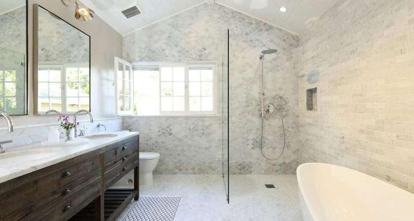 Open Shower Marble Quatrefoil Tiles Transitional