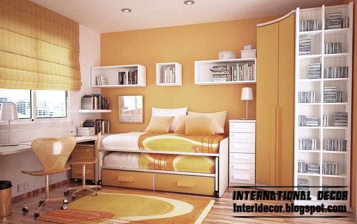 Orange Color Kids Room Paints Schemes