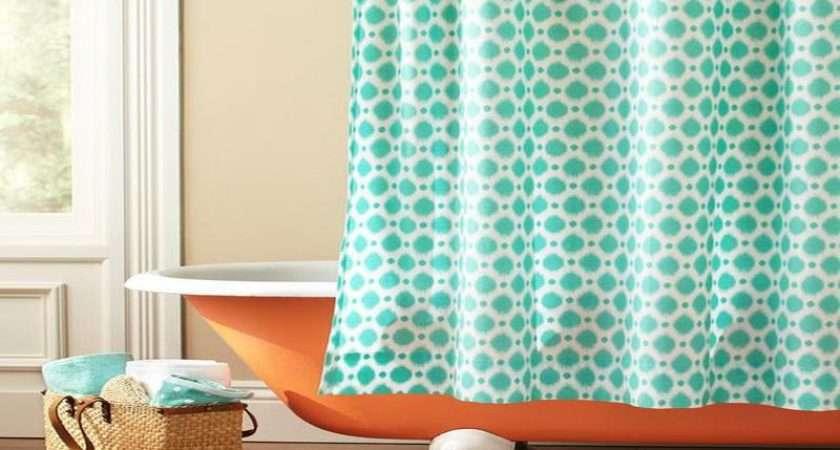 Orange Polka Dot Shower Curtain Topped Playful