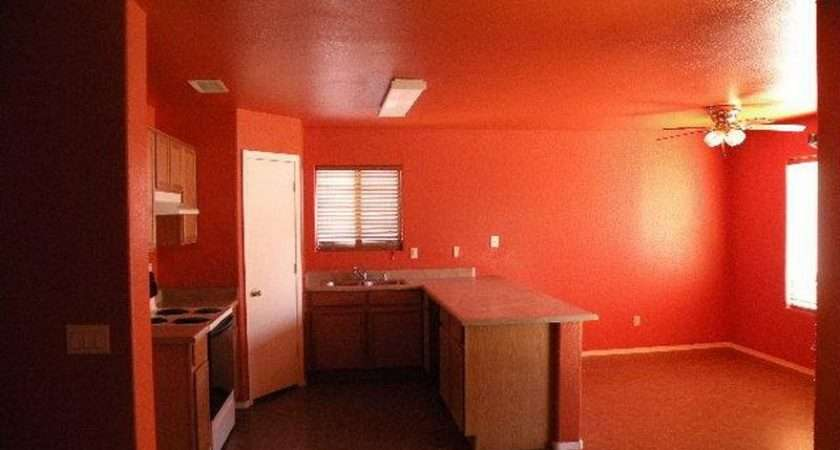Orange Red Paint Dining Kitchen Room Attractive