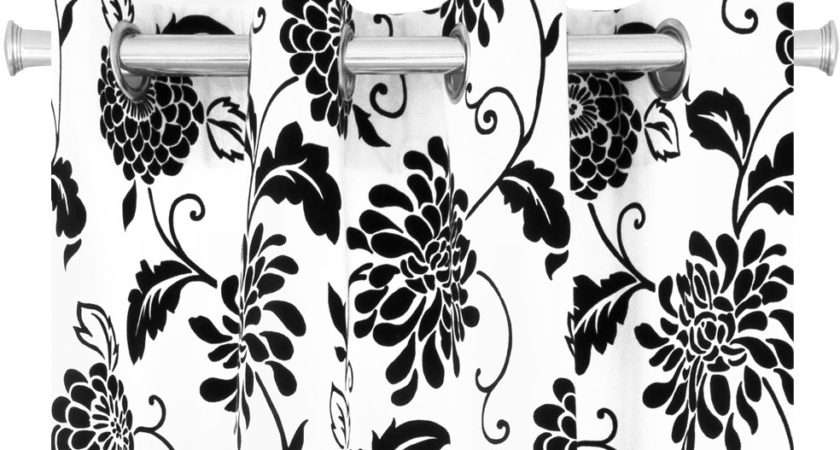 Our Manhattan Black White Floral Drapes Instant Way Draw