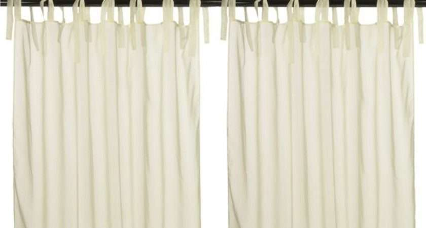Outdoor Decor Sheer Voile Curtain Panel Pairs Tie Tab