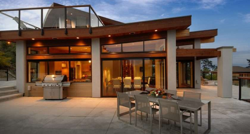 Outdoor Dining Terrace Modern Home Victoria British Columbia