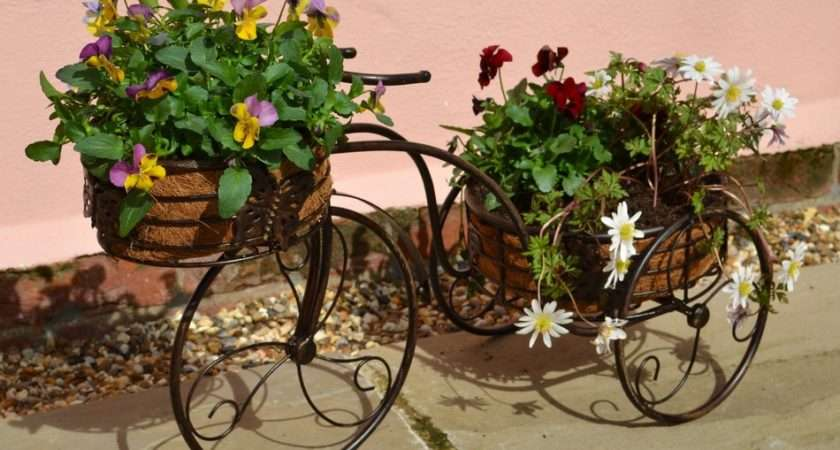 Outdoor Hardware Planting Rustic Dark Metal Pot Trike Garden Planter