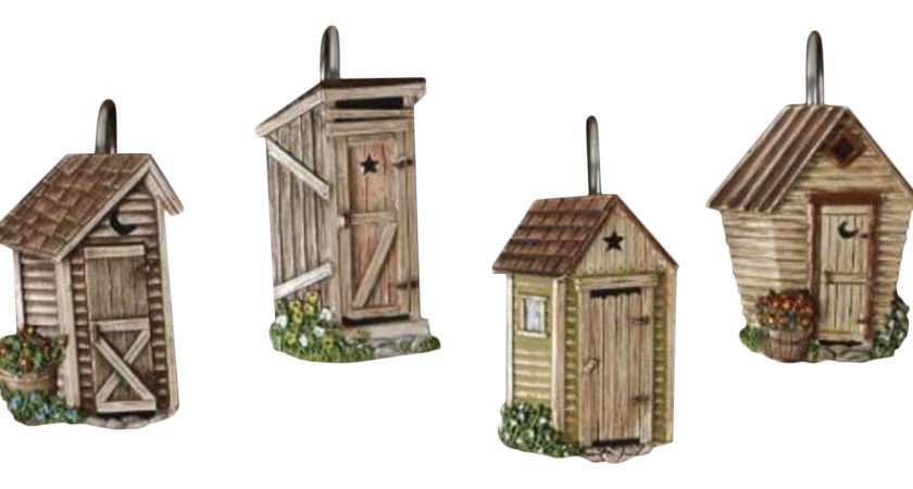 Outhouses Shower Curtain Hooks Country Rustic Bath Decor Park Designs