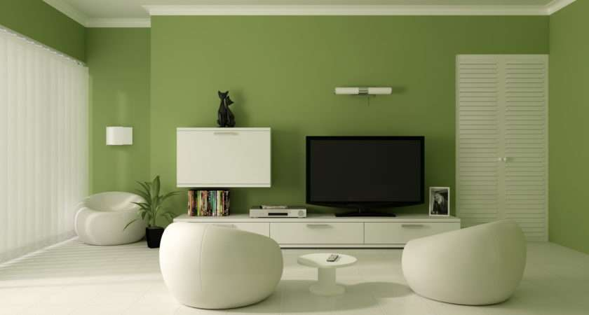 Paint Color Modern Living Room Inspiration Design Green