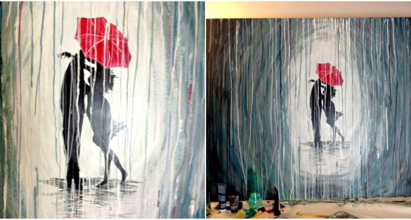 Paint Rainy Day Scene Acrylics Easy Wall Art