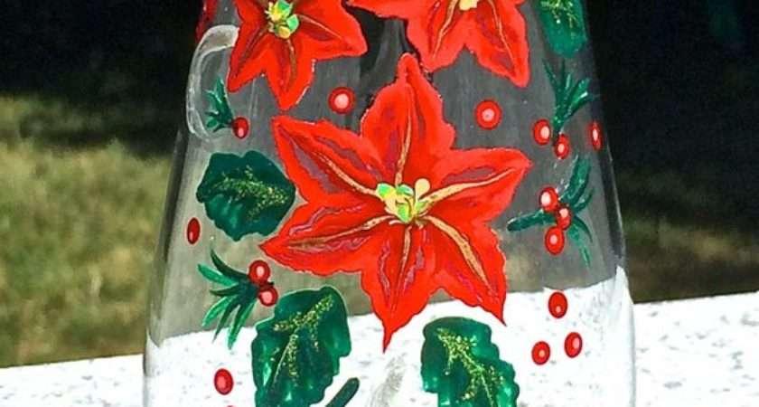 Painted Christmas Vase Poinsettias Holiday Gift Ideas