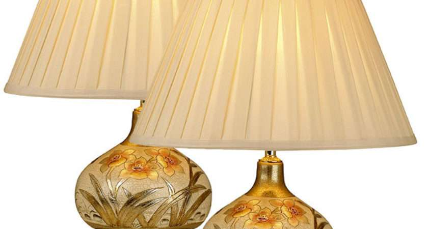 Pair Ceramic Gold Table Lamps Cream Shades Geg