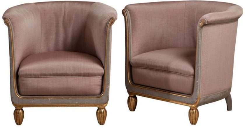 Pair Small French Tub Chairs Upholstered