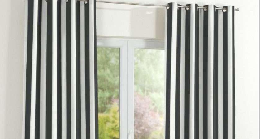 Pair Stylish Made Measure Black White Striped Eyelet Curtains