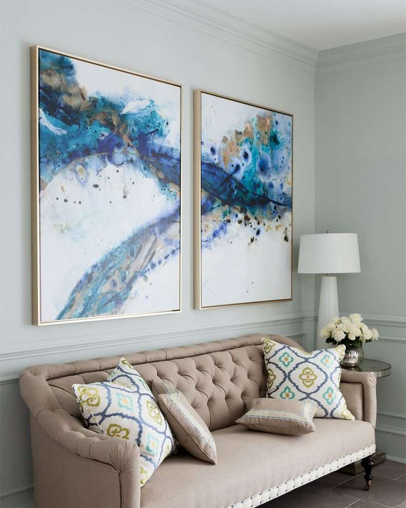 Pale Blue Walls Living Room Beach Style White Trim