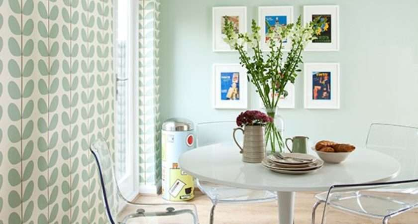 Pale Green Modern Retro Dining Area Decorating