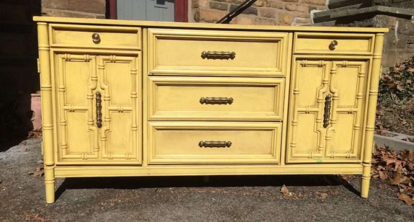 Pale Yellow Buffet Server Bamboo Accents Attainable