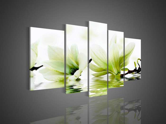 Panel Wall Art Framed Modern Abstract Acrylic Flower Magnolia