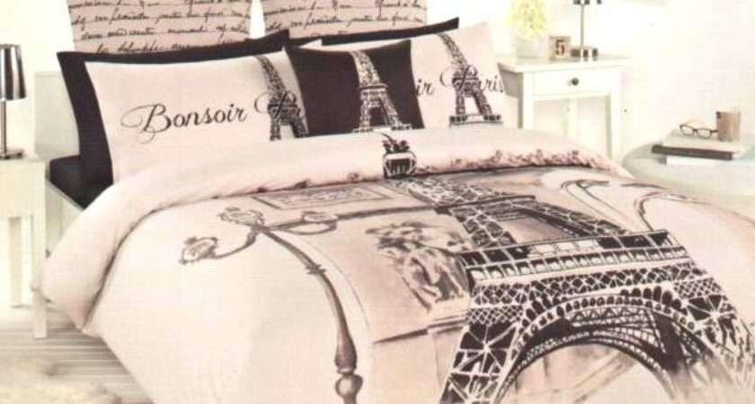 Paris Eiffel Tower Beige Brown Black Double Quilt