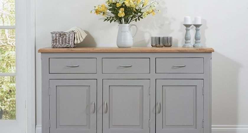Parisian Grey Shabby Chic Sideboard Oak Furniture Superstore