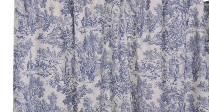 Park Toile Bathroom Shower Curtain Blue Designs Country Vintage Decor