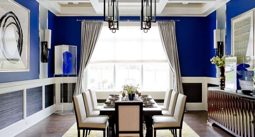 Patterned Rug Adds Yellow Dining Room Blue Photography