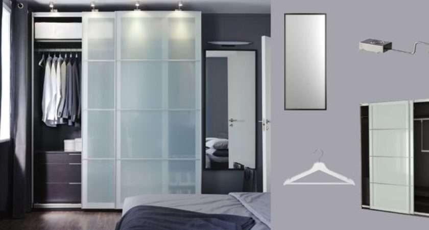 Pax Black Brown Wardrobe Sekken Frosted Glass Sliding Doors More