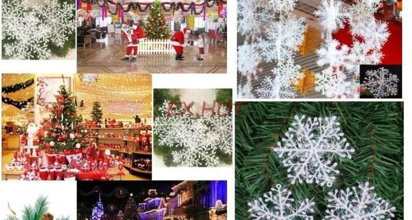 Pcs Christmas Tree Ornaments Decorations Glitter White Snowflakes