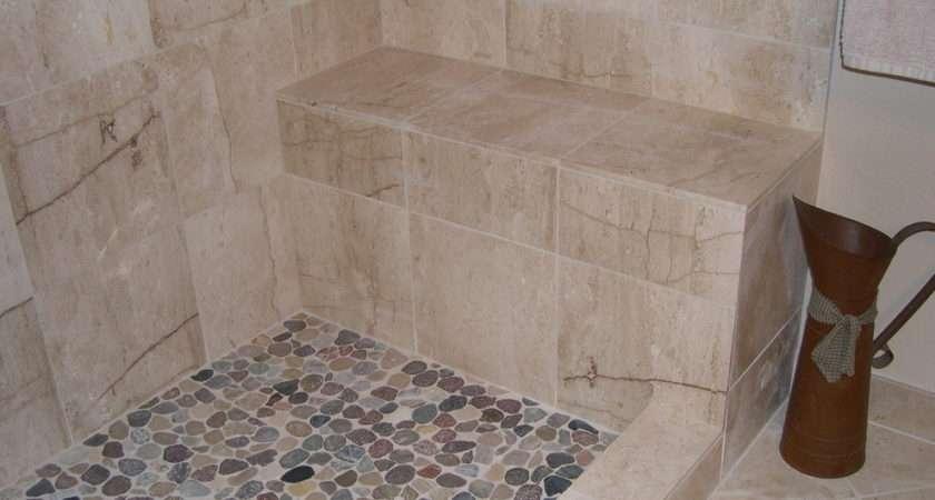 Pebble Stone Shower Floor Bathroom Traditional None