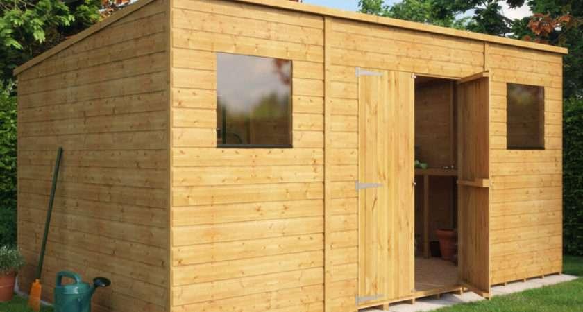 Pent Shiplap Central Double Door Wooden Shed Garden