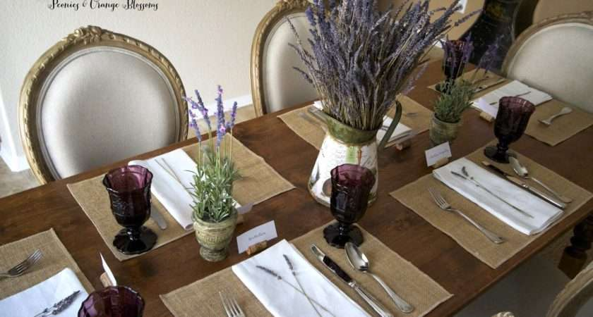 Peonies Orange Blossoms Lavender French Country Table