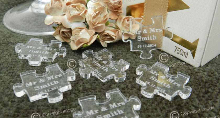 Personalised Clear Puzzle Piece Favours Table