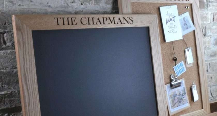 Personalised Cork Chalk Notice Board Oak Rope