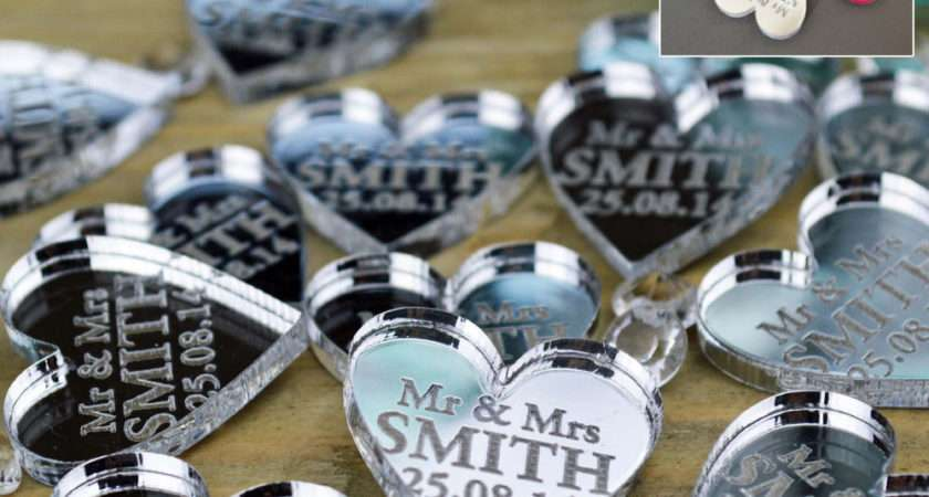Personalised Love Hearts Wedding Favours Table Centrepiece