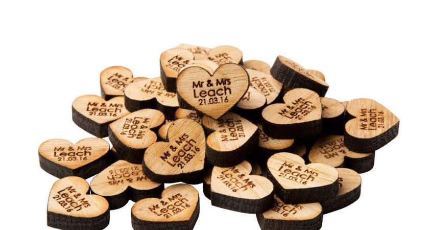 Personalised Oak Love Heart Table Decoractions Wooden