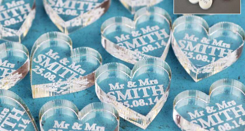Personalised Wedding Mrs Love Hearts Favours Table