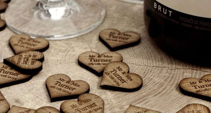 Personalised Wooden Love Heart Table Decorations Place