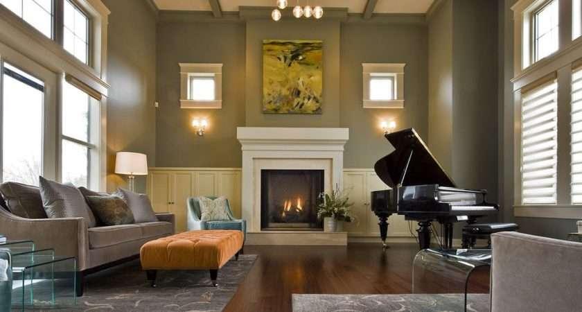 Piano Living Room Contemporary Yellow