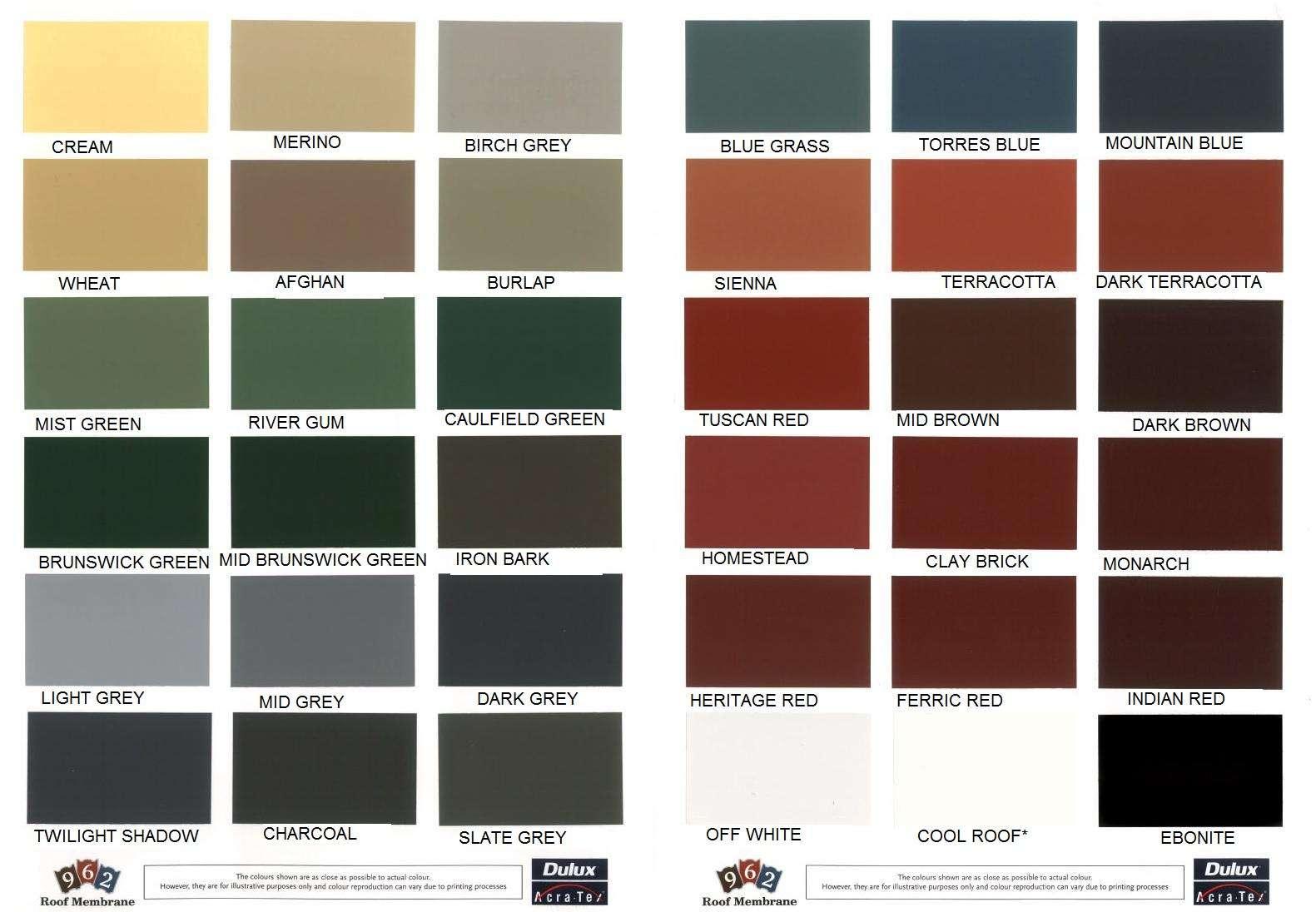 Resene Paints Ltd Crown Roof Colour Chart
