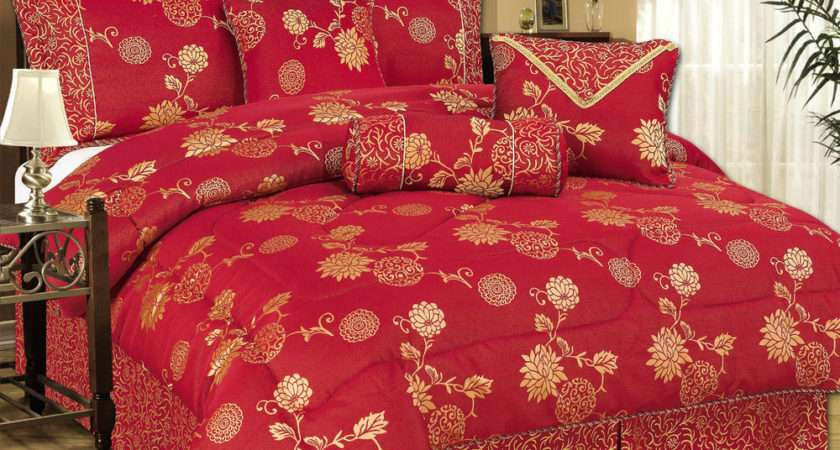 Piece Comforter Bedspread Set Oriental Red Gold King