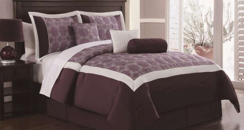 Piece King Barclay Plum Ivory Embroidered Comforter Set