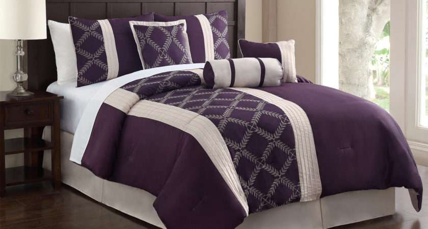 Piece Queen Julius Plum Ivory Embroidered Comforter Set
