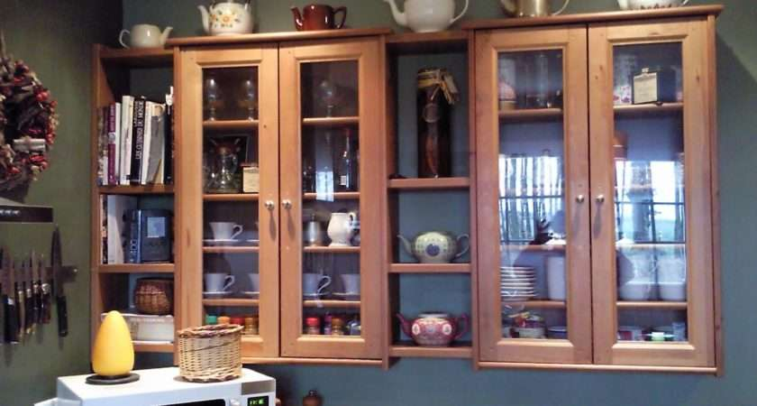 Pine Cabinets Ikea Shelves Kitchen