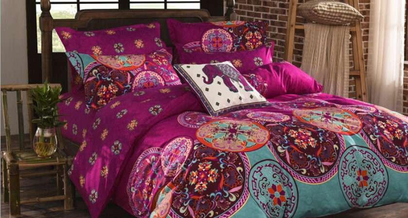 Pink Bohemian Oriental Mandala Bedding Quilt Duvet Cover