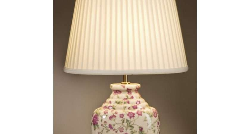 Pink Floral Cream Ceramic Oriental Table Lamp Shade