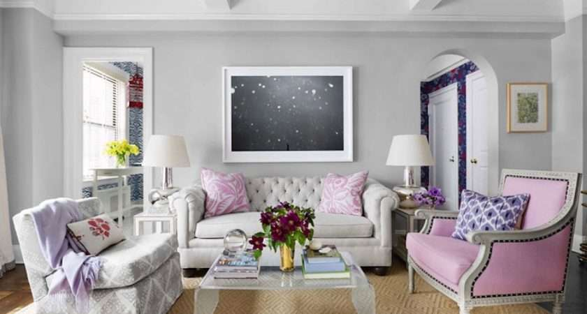 Pink Gray Living Room Contemporary House Beautiful
